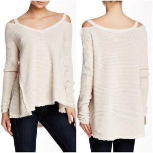 Free People Moonshine V-neck Sweater Cream XS